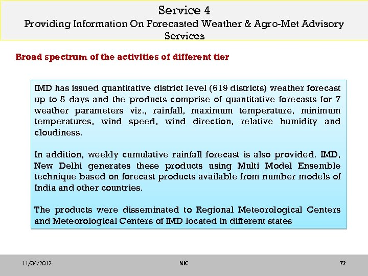 Service 4 Providing Information On Forecasted Weather & Agro-Met Advisory Services Broad spectrum of