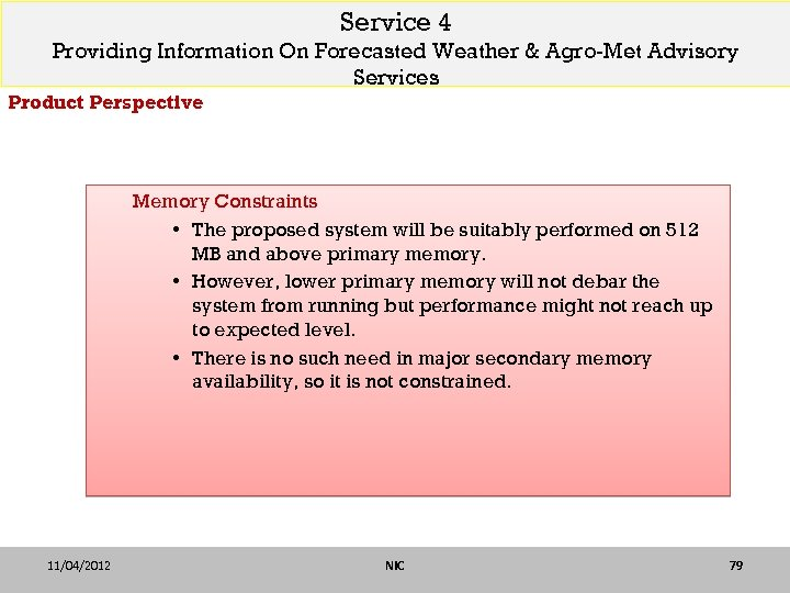 Service 4 Providing Information On Forecasted Weather & Agro-Met Advisory Services Product Perspective Memory