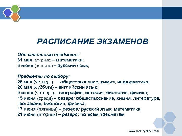 РАСПИСАНИЕ ЭКЗАМЕНОВ Обязательные предметы: 31 мая (вторник) – математика; 3 июня (пятница) – русский