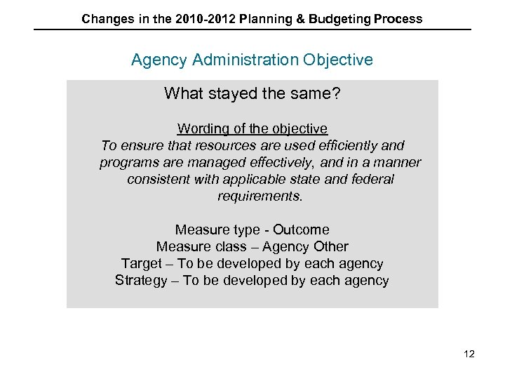 Changes in the 2010 -2012 Planning & Budgeting Process Agency Administration Objective What stayed