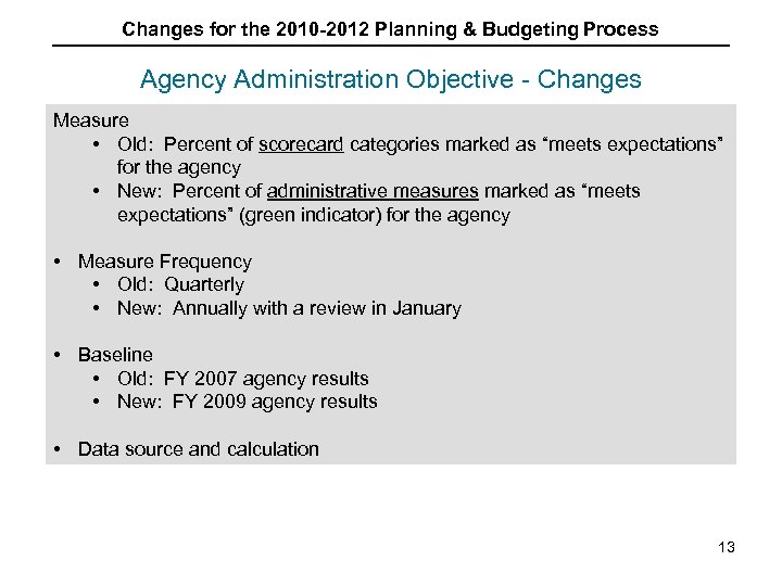 Changes for the 2010 -2012 Planning & Budgeting Process Agency Administration Objective - Changes