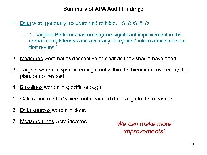 "Summary of APA Audit Findings 1. Data were generally accurate and reliable. – ""…Virginia"
