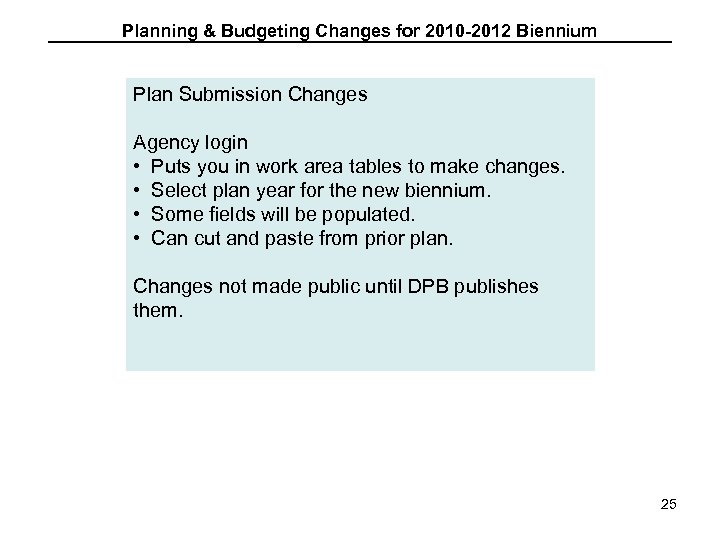 Planning & Budgeting Changes for 2010 -2012 Biennium Plan Submission Changes Agency login •