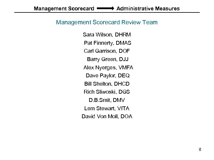 Management Scorecard Administrative Measures Management Scorecard Review Team Sara Wilson, DHRM Pat Finnerty, DMAS