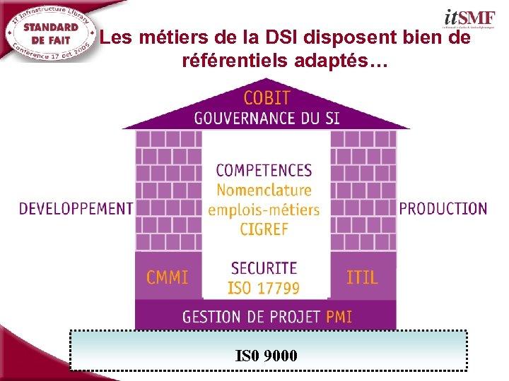 Les métiers de la DSI disposent bien de référentiels adaptés… IS 0 9000
