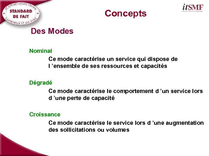 Concepts Des Modes Nominal Ce mode caractérise un service qui dispose de l 'ensemble