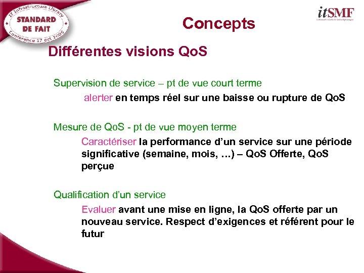 Concepts Différentes visions Qo. S Supervision de service – pt de vue court terme