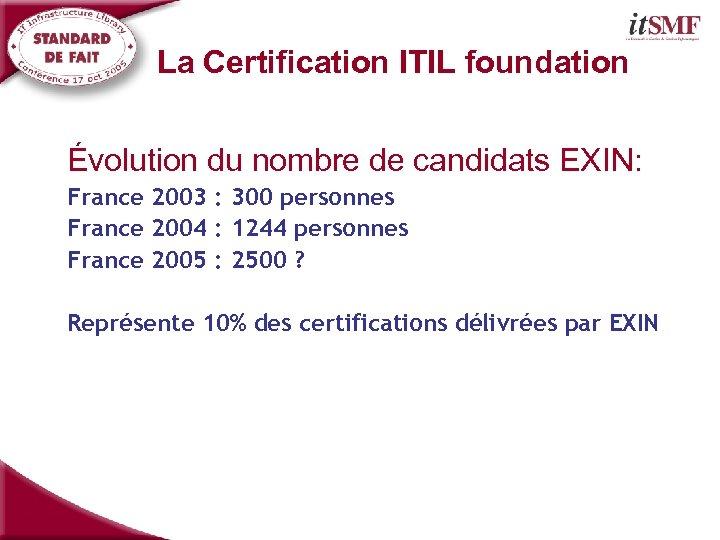 La Certification ITIL foundation Évolution du nombre de candidats EXIN: France 2003 : 300