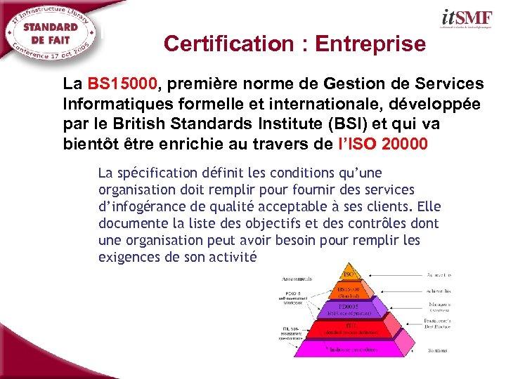 Introduction: Normalisation et Certification : Entreprise La BS 15000, première norme de Gestion de