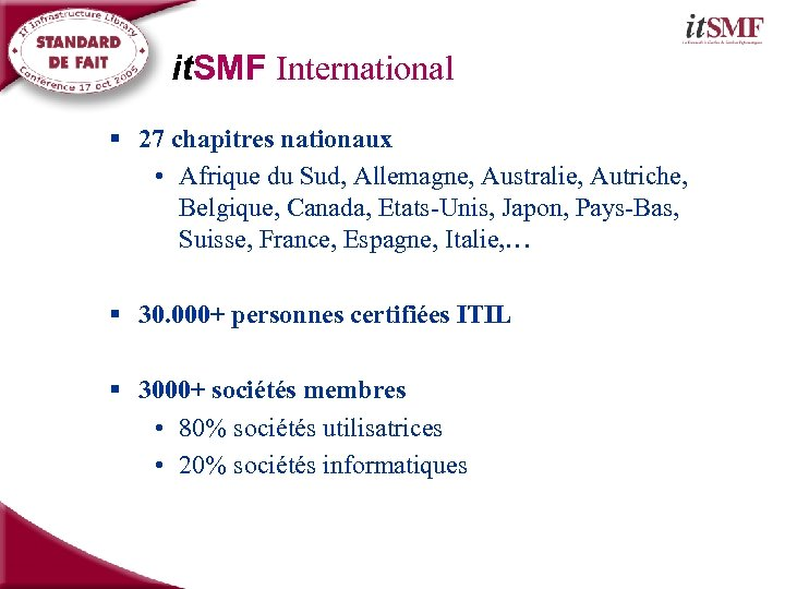 it. SMF International § 27 chapitres nationaux • Afrique du Sud, Allemagne, Australie, Autriche,
