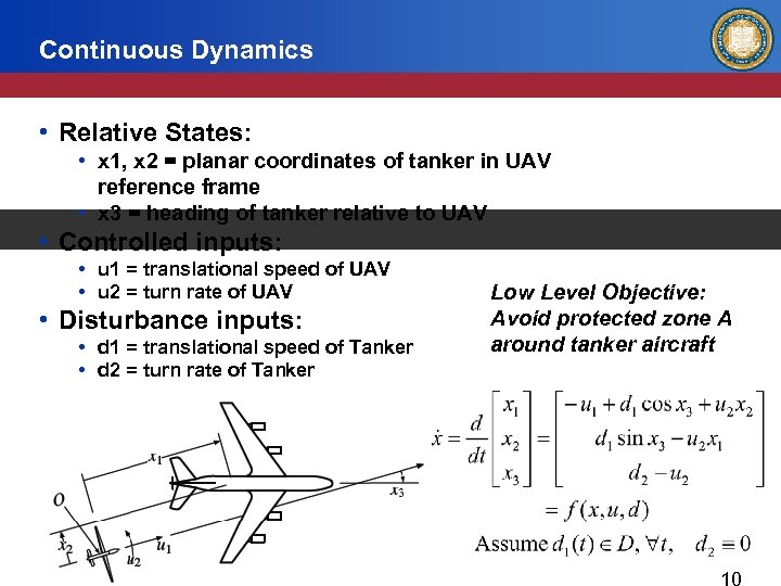 Continuous Dynamics • Relative States: • x 1, x 2 = planar coordinates of