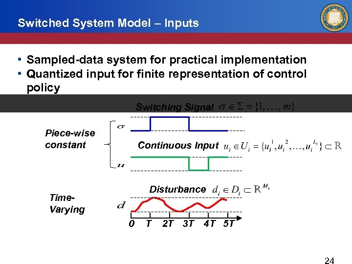 Switched System Model – Inputs • Sampled-data system for practical implementation • Quantized input