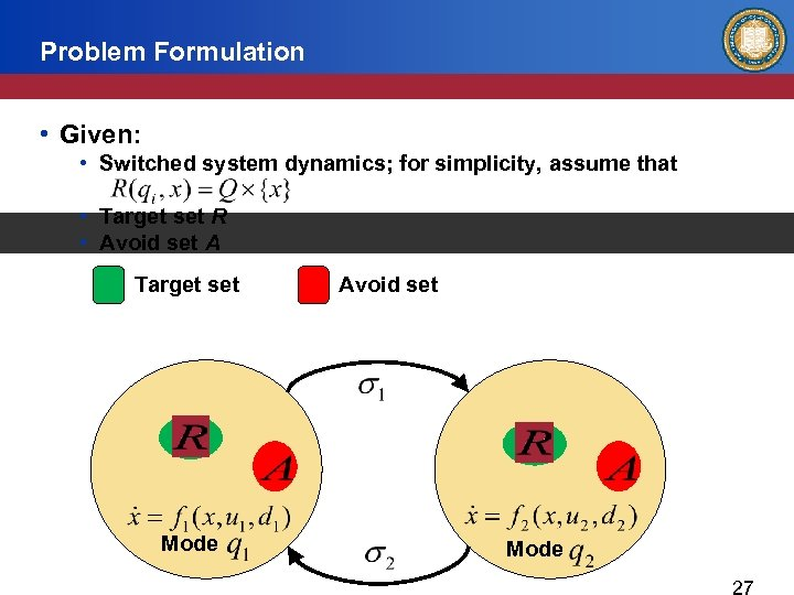 Problem Formulation • Given: • Switched system dynamics; for simplicity, assume that • Target