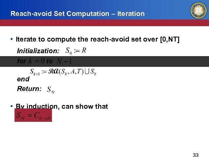 Reach-avoid Set Computation – Iteration • Iterate to compute the reach-avoid set over [0,