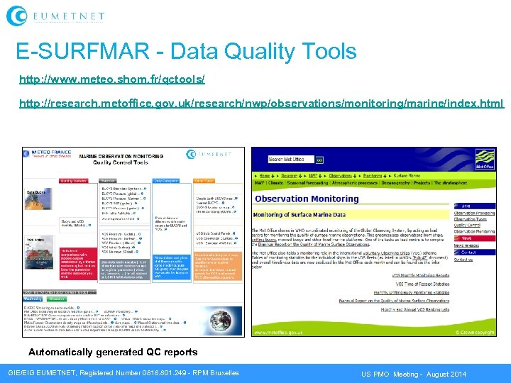 E-SURFMAR - Data Quality Tools http: //www. meteo. shom. fr/qctools/ http: //research. metoffice. gov.