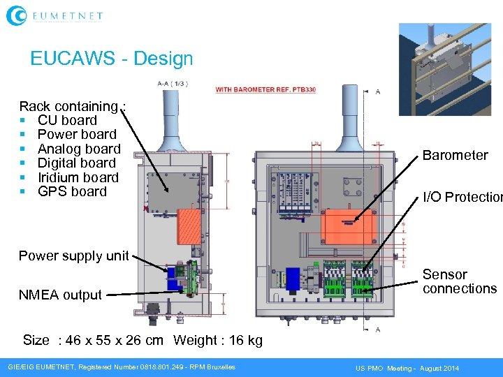EUCAWS - Design Rack containing : CU board Power board Analog board Digital board