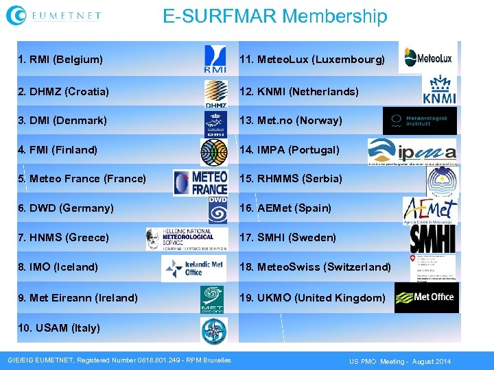 E-SURFMAR Membership 1. RMI (Belgium) 11. Meteo. Lux (Luxembourg) 2. DHMZ (Croatia) 12. KNMI