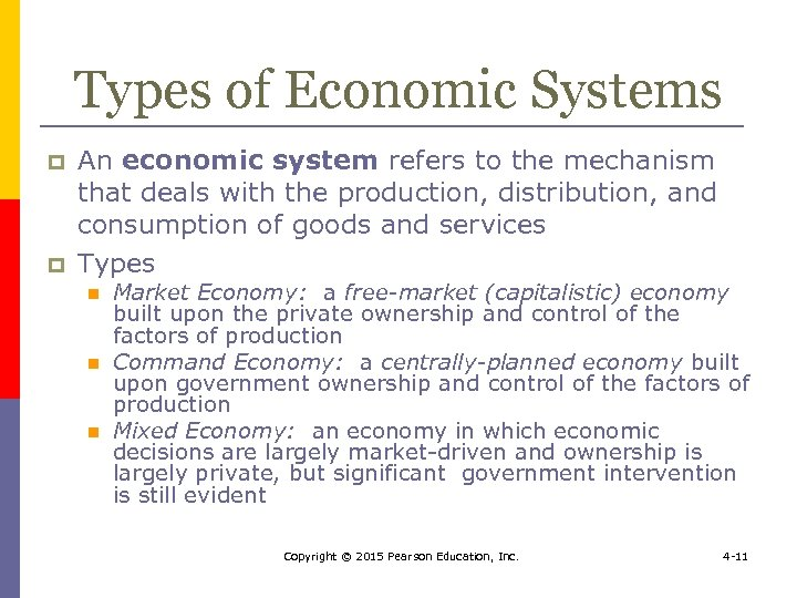 Types of Economic Systems p p An economic system refers to the mechanism that