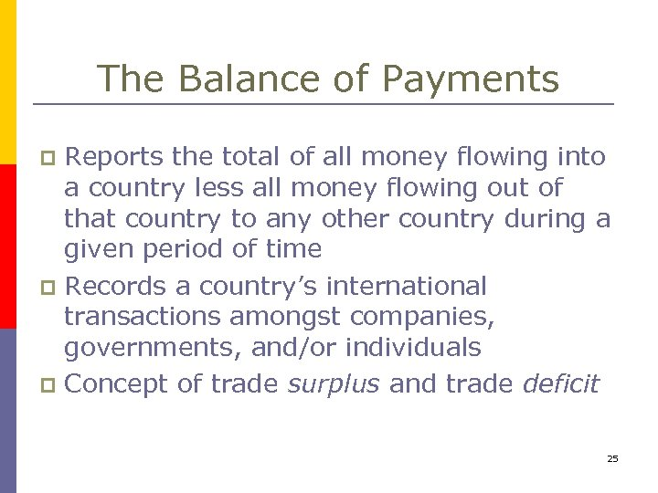 The Balance of Payments Reports the total of all money flowing into a country