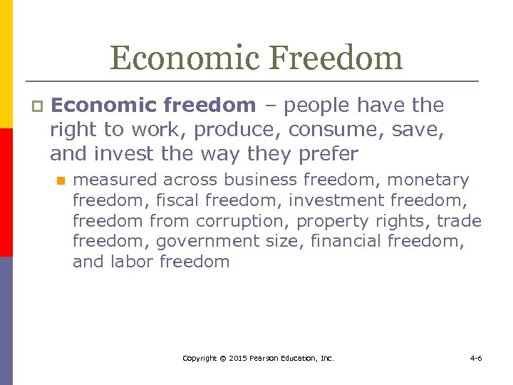 Economic Freedom p Economic freedom – people have the right to work, produce, consume,