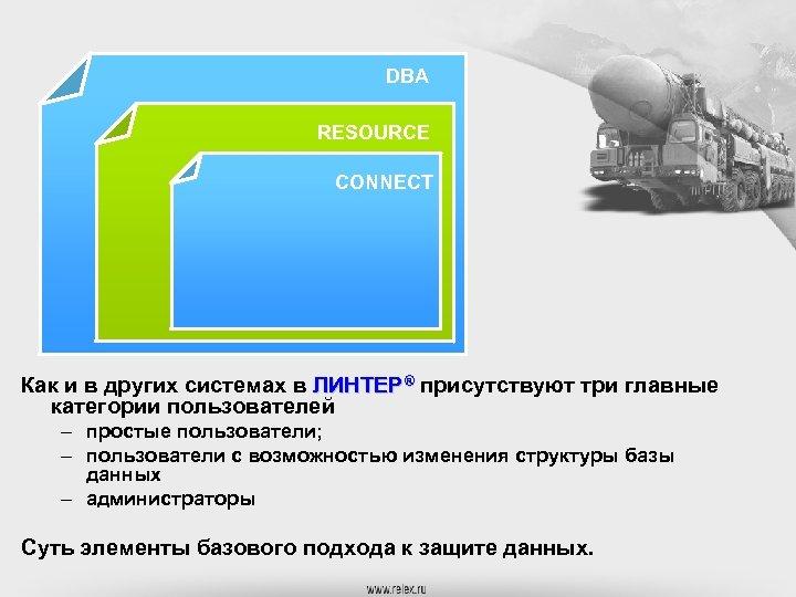 DBA RESOURCE CONNECT Как и в других системах в ЛИНТЕР® присутствуют три главные категории