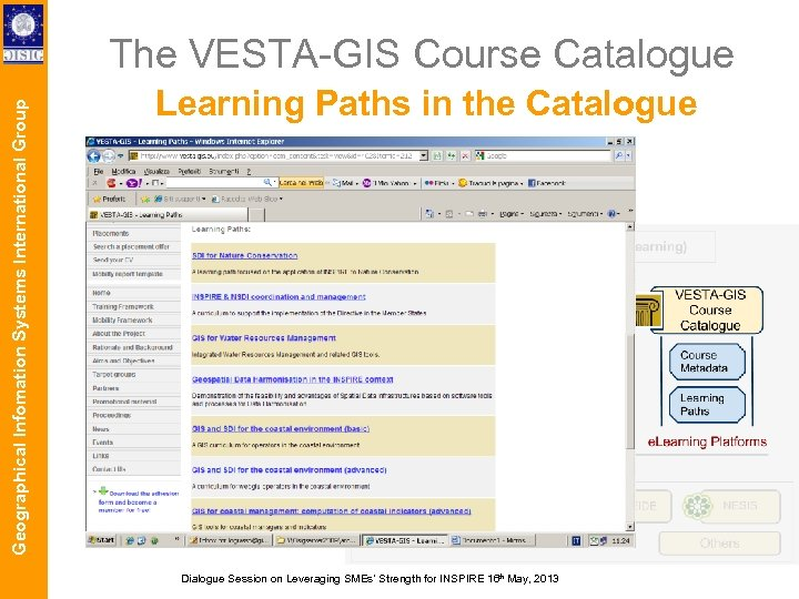 Geographical Infomation Systems International Group The VESTA-GIS Course Catalogue Learning Paths in the Catalogue