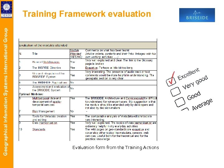 Geographical Infomation Systems International Group Training Framework evaluation Evaluation form from the Training Actions