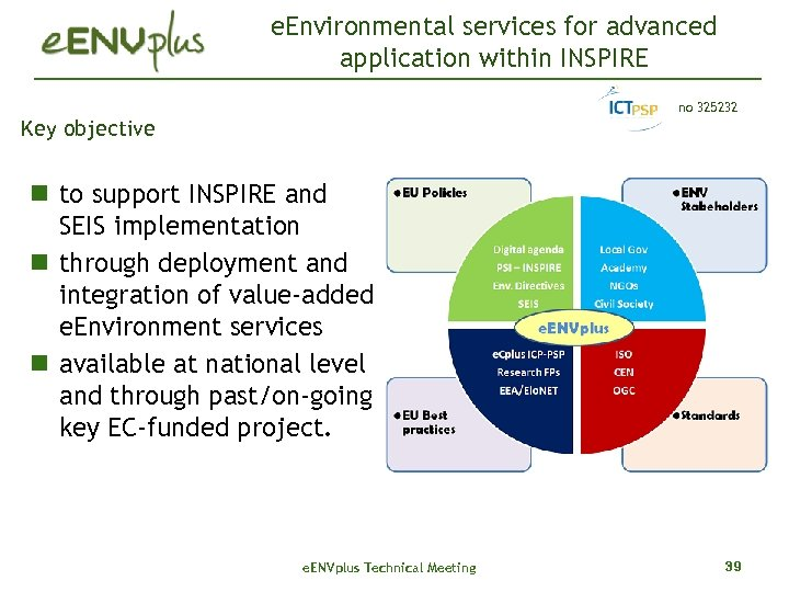 e. Environmental services for advanced application within INSPIRE no 325232 Key objective to support