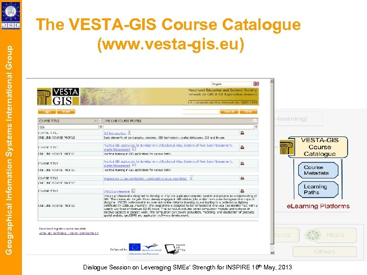 Geographical Infomation Systems International Group The VESTA-GIS Course Catalogue (www. vesta-gis. eu) Dialogue Session