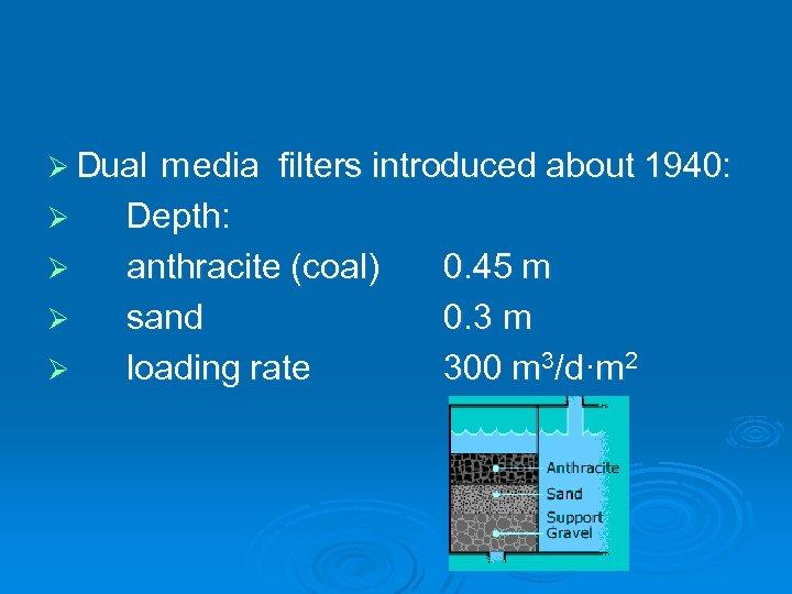 Ø D m filters introduced about 1940: ual edia Ø Ø Depth: anthracite (coal)