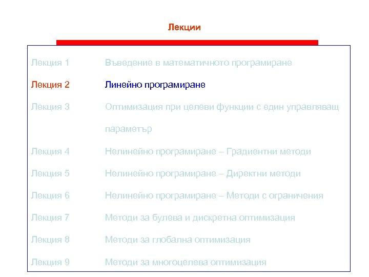 Лекции Лекция 1 Въведение в математичното програмиране Лекция 2 Линейно програмиране Лекция 3 Оптимизация