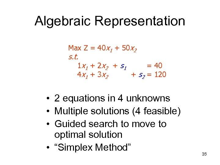 Algebraic Representation Max Z = 40 x 1 + 50 x 2 s. t.