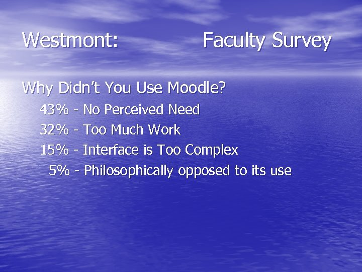 Westmont: Faculty Survey Why Didn't You Use Moodle? 43% - No Perceived Need 32%