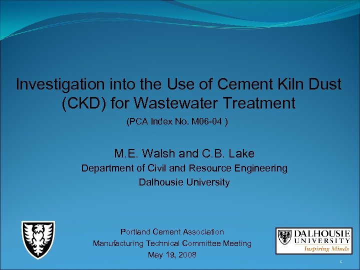Investigation into the Use of Cement Kiln Dust (CKD) for Wastewater Treatment (PCA Index