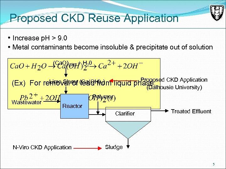 Proposed CKD Reuse Application • Increase p. H > 9. 0 • Metal contaminants