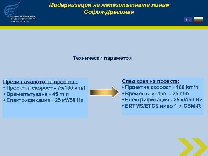 Модернизация на железопътната линия София-Драгоман Технически параметри Преди началото на проекта : • Проектна