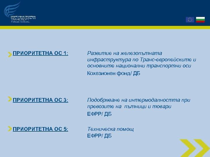 ПРИОРИТЕТНА ОС 1: Развитие на железопътната инфраструктура по Транс-европейските и основните национални транспортни оси