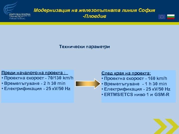 Модернизация на железопътната линия София -Пловдив Технически параметри Преди началото на проекта : •