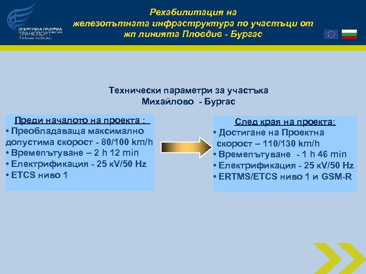 Рехабилитация на железопътната инфраструктура по участъци от жп линията Пловдив - Бургас Технически параметри