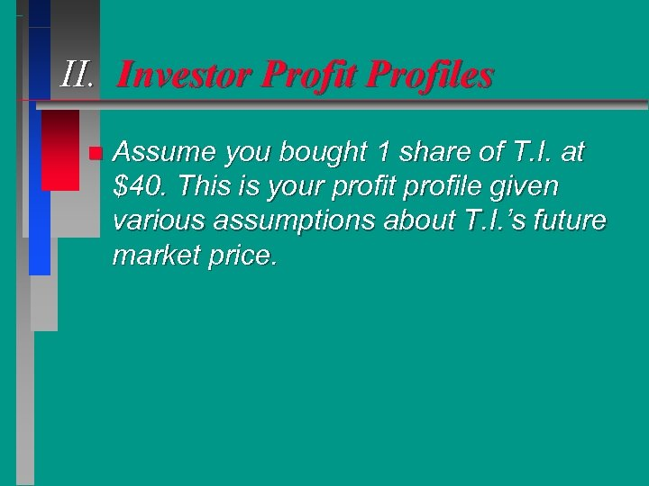 II. Investor Profit Profiles n Assume you bought 1 share of T. I. at
