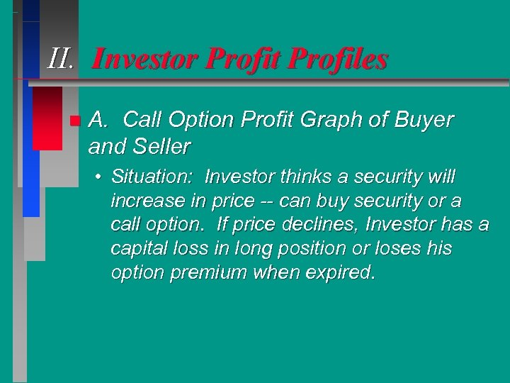 II. Investor Profit Profiles n A. Call Option Profit Graph of Buyer and Seller