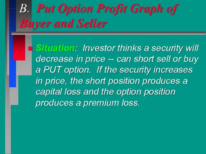B. Put Option Profit Graph of Buyer and Seller n Situation: Investor thinks a