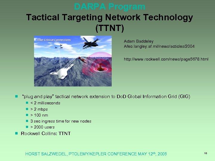 DARPA Program Tactical Targeting Network Technology (TTNT) Adam Baddeley Afeo. langley. af. mil/news/acticles/2004 http: