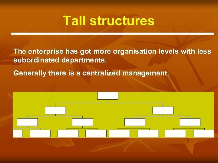 Tall structures The enterprise has got more organisation levels with less subordinated departments. Generally
