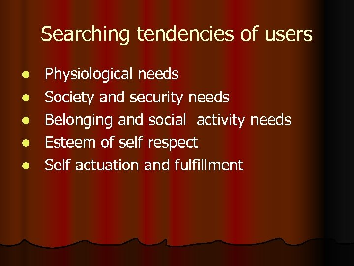Searching tendencies of users l l l Physiological needs Society and security needs Belonging