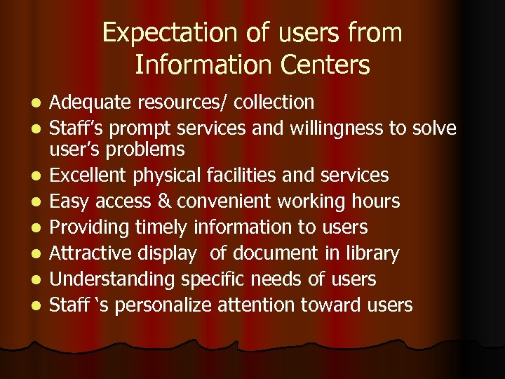 Expectation of users from Information Centers l l l l Adequate resources/ collection Staff's