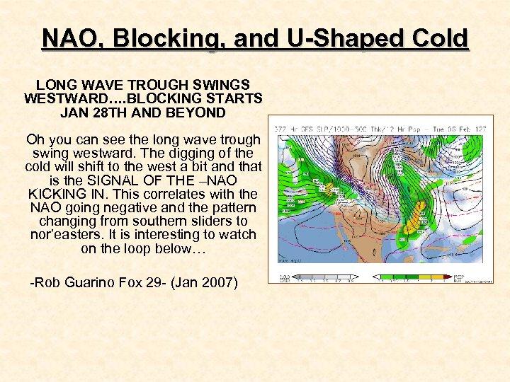 NAO, Blocking, and U-Shaped Cold LONG WAVE TROUGH SWINGS WESTWARD…. BLOCKING STARTS JAN 28