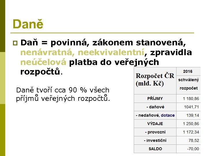 Daně p Daň = povinná, zákonem stanovená, nenávratná, neekvivalentní, zpravidla neúčelová platba do veřejných