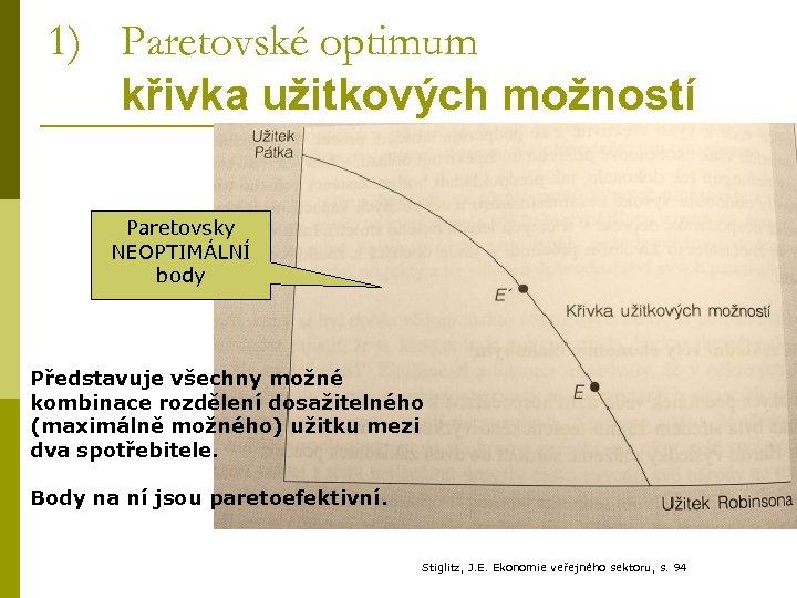 1) Paretovské optimum křivka užitkových možností Paretovsky NEOPTIMÁLNÍ body Představuje všechny možné kombinace rozdělení