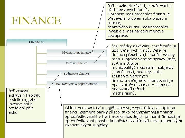 FINANCE řeší otázky získávání kapitálu podnikem, jeho investování a rozdělení příp. zisku řeší otázky